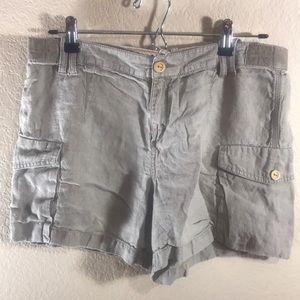 100% Linen Brown Cargo Shorts Banana Republic 8